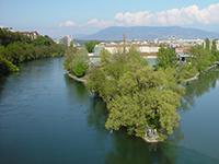 Sentier des Saules à Genève depuis la Jonction du Rhône et de l'Arve