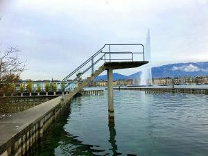 Les Bains des Pâquis, plongeoir, Genève