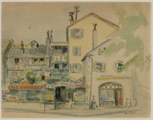 Le Café du Soleil, Aquarelle de Paul Hänni, 1949